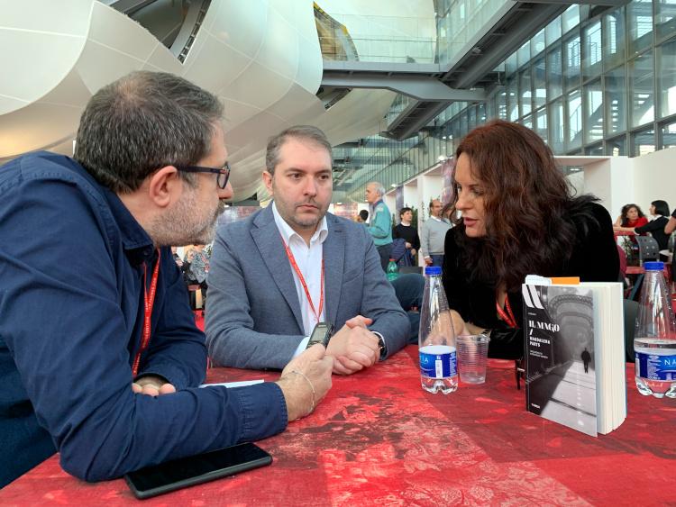 Magdalena Parys con Alessandro Amenta e David Frati a Più libri più liberi 2018